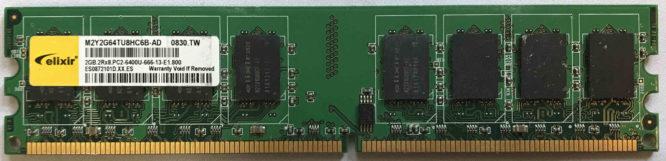 Elixir 2GB 2Rx8 PC2-6400U-666-13-E1.800