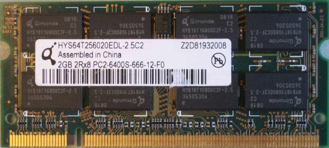 Qimonda 2GB 2Rx8 PC2-6400S-666-12-F0