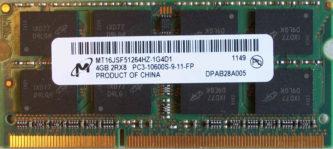 Micron 4GB 2Rx8 PC3-10600S-9-11-FP