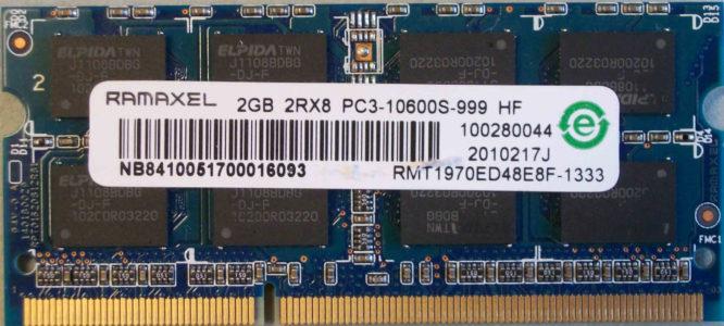 Ramaxel 2GB 2Rx8 PC3-10600S-999 HF