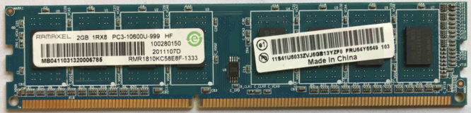 2GB 1Rx8 PC3-10600U-999 HF