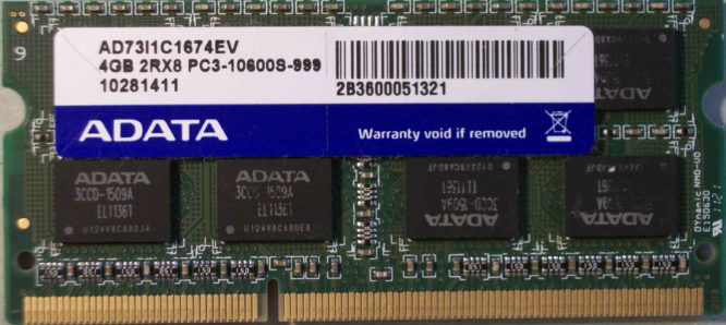 4GB 2Rx8 PC3-10600S-999 Adata