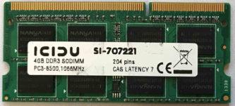 Icidu 4GB 2Rx8 PC3-8500S